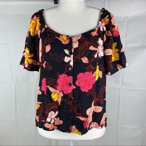 Women's Jeanswest Multicolored Floral Off The Shoulder Button Up Blouse Size 12